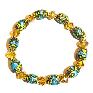 Jewelry - African Krobo bead / Iridescent Crystal bracelet
